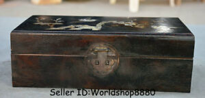 10 8 Old China Redwood Wood Inlay Shell Dynasty Flower Birds Chest Storage Box