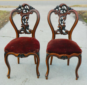 Pair Mahogany And Ebony Victorian Parlor Chairs Side Chairs Circa 1865