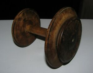 Antique Primitive Wooden Wood Spinning Wheel Spool Lithuania Europe 1800 4