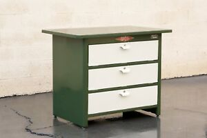 1960s Tool Cabinet By Nuarc Graphic Arts Equipment Refinished In Army Green And