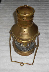 Ship Lantern Anchor Brass Clear Glass Oil Lamp