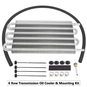 6 Row Transmission Oil Cooler Mounting Kit Radiator Remote Aluminum