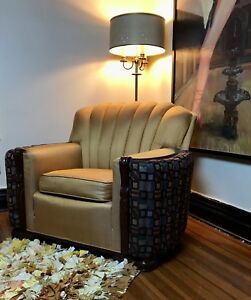 Antique Art Deco Silk Or Satin Club Chair 1930 S Stunning Local Pickup Only
