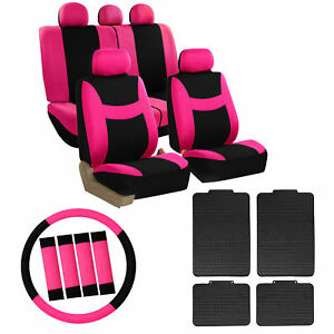 Full Pink Car Seat Covers Set For Auto W steeringl belt Pad rubber Floor Mat
