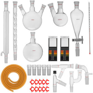 New Advanced Chemistry Lab Glassware Kit With 24 40 Glass Ground Joint 29pcs