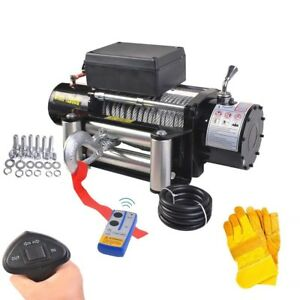 12500 Lbs Classic 12v Electric Recovery Winch Truck Suv Wireless Remote Control