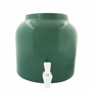 Green Water Dispenser Crock Porcelain Holds 2 To 5 Gallon On Top Free Shipping