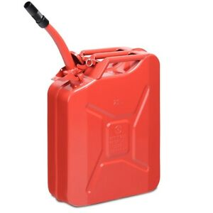5 Gallon 20l Jerry Fuel Can Steel Gas Container Emergency Backup With Spout Red