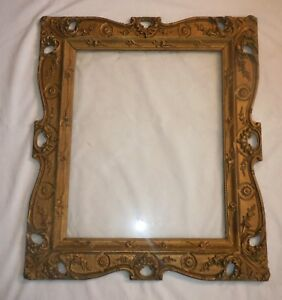 Antique Ornate Aesthetic Victorian Detail Wood Gold Gilt Gesso Frame Fits 20x16