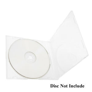 200 Pack Slim 5 2mm Jewel Case Clear Single Cd Dvd Disc Storage W built in Tray