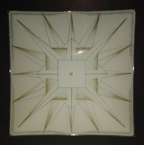 Art Deco 15 Square Frosted Gold Starburst Glass Light Fixture Ceiling Shade