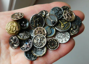 Antique Small Picture Button Lot Picture Tints Cut Steel Twinkle Liners Flowers