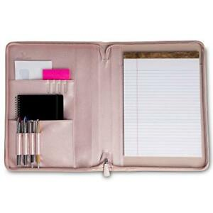 Professional Pu Leather Padfolios Business Portfolio Document Organizer Pink