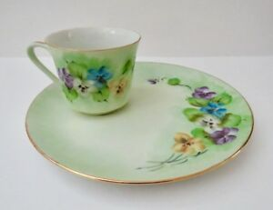 Vintage Rare Tea Cup And Saucer Hand Painted By Ellen Noble