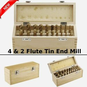 20 Pc Tin Coated End Mill Set 2 4 Flutes Cutting Tools Cmt