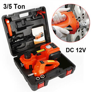 12v Dc 3 5 Ton Electric Hydraulic Floor Jack Impact Wrench Inflator Pump 3 In 1