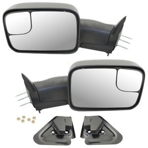 94 02 Dodge Pickup Set Of Manual Tow Mirrors Mounting Brackets New Arm Design