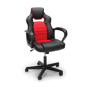 Essentials Gaming Chair Racing Style Ergonomic Mesh And Leather Computer Red