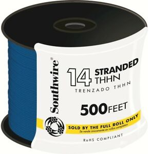 Southwire 500 Ft 14 Stranded Cu Thhn Wire Multi purpose Indoor Outdoor Blue