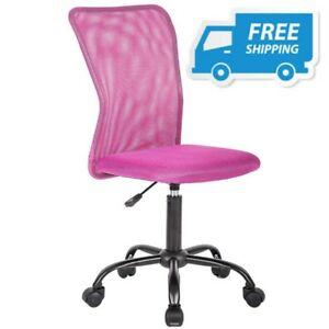 Pink Desk Chair With Wheels For Childrens Bedroom Swivel Study Lumbar Support