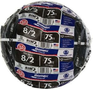Southwire 75 Ft 8 2 Stranded Romex Simpull Type Cu Nm b W g Wire Cable Black