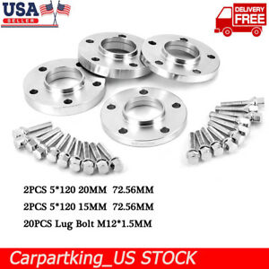 For Bmw Hub Centric Wheel Spacers Staggered Kit 5x120 2 15mm 2 20mm W bolts
