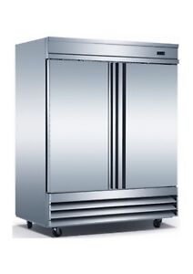 Triplex Two Door Stainless Steel Commercial Refrigerator Upright Bottom Mounted