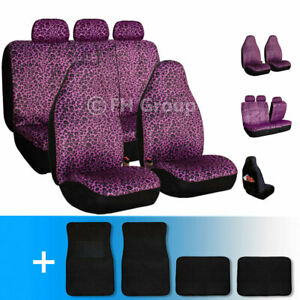 Purple Leopard Velour Seat Covers With Carpet Floor Mats