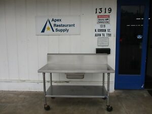 Stainless Steel 60 X 30 Work Prep Table W backsplash casters 3776
