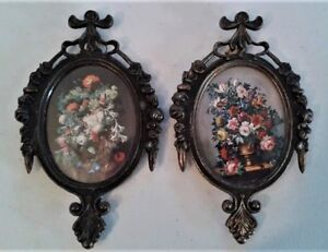 2 Small Vintage Oval Ornate Metal Frame Floral Pictures Made In Italy 6 5 X 4