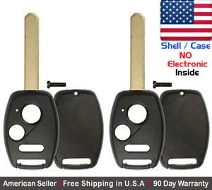 2x New Replacement Keyless Key Fob For Honda Acura Shell Case Only