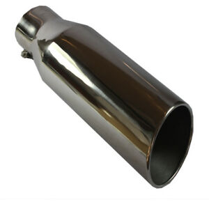 4 Inlet 6 Outlet Polished Diesel Stainless Steel Exhaust Tip 18 Long Bolt On