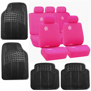 Car Seat Covers Pink Black Set For Auto W floor Mat