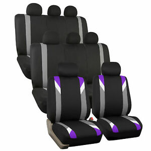 3 Row Car Seat Cover Set For Suv Minivan Purple With 8 Headrests