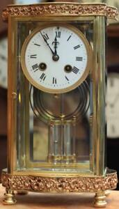 Antique French Ornate Serpentine Crystal Regulator Mantle Clock Signed By H