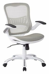 Managers Chair Fully Loaded White Fabric 2 to 1 Lumbar Support Director Modern