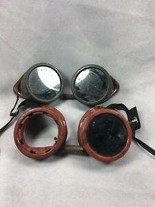 2 Antique Bakelite Welding Goggles Glasses Steampunk Industrial Art Vintage