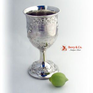 Large Ornate Coin Silver Goblet Floral Repousse Decorations 1860