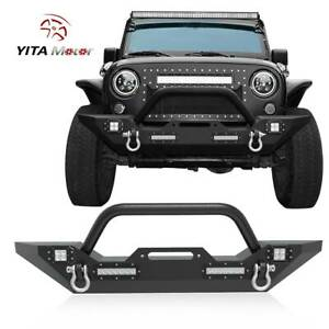 Rock Crawler Front Bumper W Winch Plate Led Lights For Jeep Wrangler 07 18 Jk