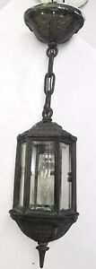 Antique Vtg Gothic Porch Light Formed Copper Hanging Fixture Beveled Glass Rare