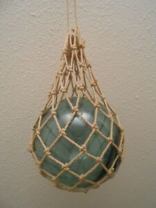 Vintage Japanese Roped Green Glass Fishing Net Floating Buoy Ball