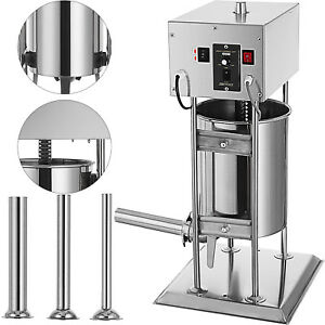 12l Electric Sausage Stuffer Meat Maker Filler Stainless Vertical W 4 Tubes
