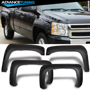 Fits 07 14 Chevy Silverado Long Bed Pocket Rivet Style Textured Pp Fender Flares