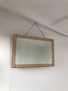 Art Deco Mirror Pink Mirror With Pie Crust Lovely Panel Mirror