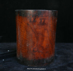 16cm Collect Chinese Old Rosewood Handmade Brush Pot Wooden Sculpture Qfhk