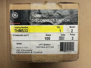 New Ge Thms33 Model 2 100 Amp 600vac 250dc 3 Pole qmr Disconnect Switch