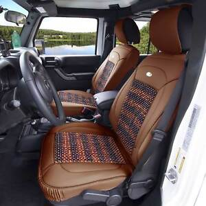 Premium Leather Seat Covers Cushion Msaage Cooling Beads Brown