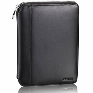 Classy Leather Junior Zippered Portfolio With Pen Loop Italian Classic Black