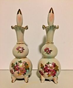 Vtg Set Of Two Thames Porcelain Hand Painted Floral Perfume Bottles W Stoppers
