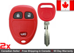 2x Red Replacement Keyless Entry Remote Key Fob For Cadillac Chevrolet Gmc Buick